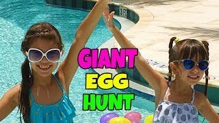 GIANT SURPRISE EGG HUNT AT THE POOL - Opening Toy Surprises - Shopkins, AJ, Squinkies, Finding Dory