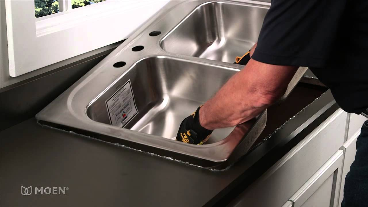 how to install a stainless steel drop in sink moen installation video youtube - Fitting Kitchen Sink