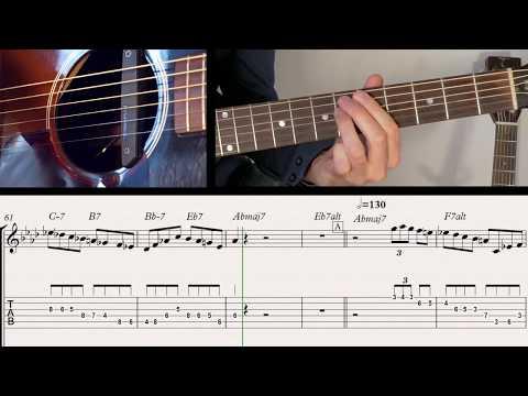 Ben-T-Zik/DONNA LEE-3 speeds training-Guitar duo tutorial #13 + SCORE/TAB (REGGAE-GYPSY SWING!)