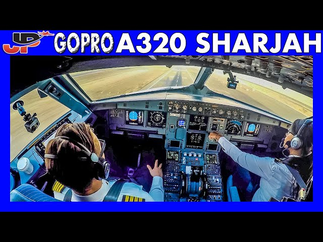 Airbus A320 Takeoff from Sharjah Airport | GoPro Flight Deck View