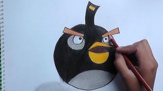 Dibujando y pintando a Pajaro Negro (Angry Birds) - Drawing and painting at Bird Black
