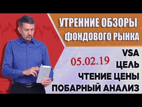 VSA, побарное чтение графиков. Обзор фондового рынка на 05 февраля 2019г.