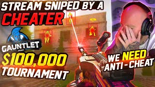 A CHEATER STREAM SNIPED ME DURING A 100K TOURNAMENT! THIS IS OUT OF CONTROL!!