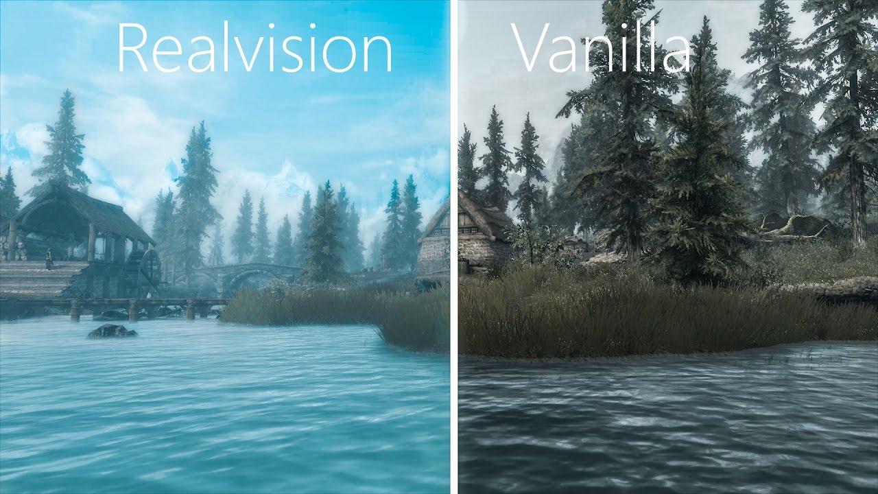 Skyrim - Realvision ENB VS Vanilla Shaders