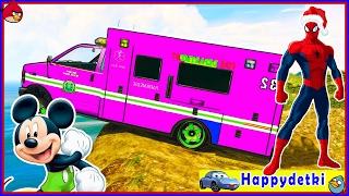 Человек паук на цветной пожарной машине спасает друзей, мультики
