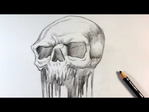 Drawing a Melted Skull Tattoo Design - Skull Drawings - YouTube