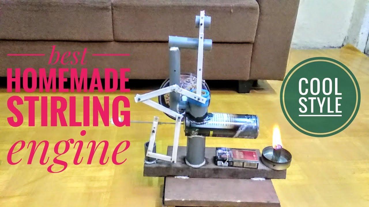 Mesin stirling sederhana. Terbuat dari barang bekas (Lever stirling engine)