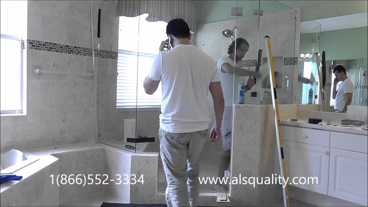 neo angle glass shower door installation and tips - YouTube