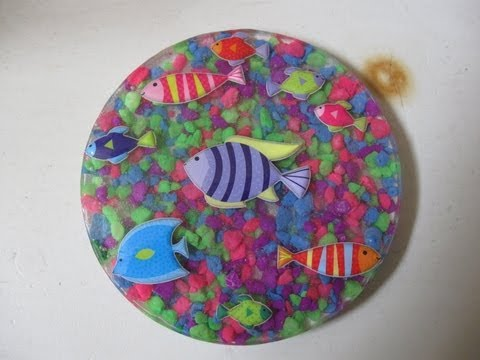 Fish Stickers & Aquarium Rocks Resin Coaster Craft Tutorial