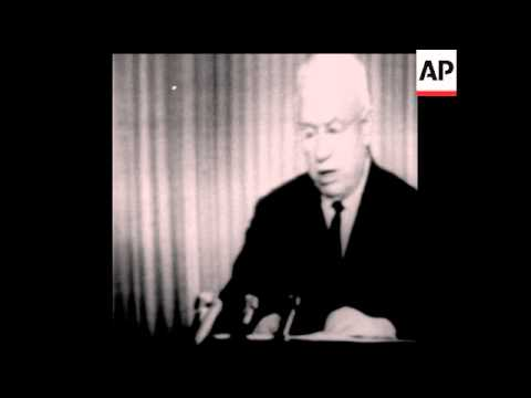 CAN165 SOVIET LEADER NIKITA KRUSCHEV SPEAKS TO THE NATION VIA TELEVISION