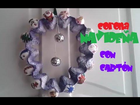 2 coronas navide as con cart n de huevo youtube for Materiales para manualidades navidenas