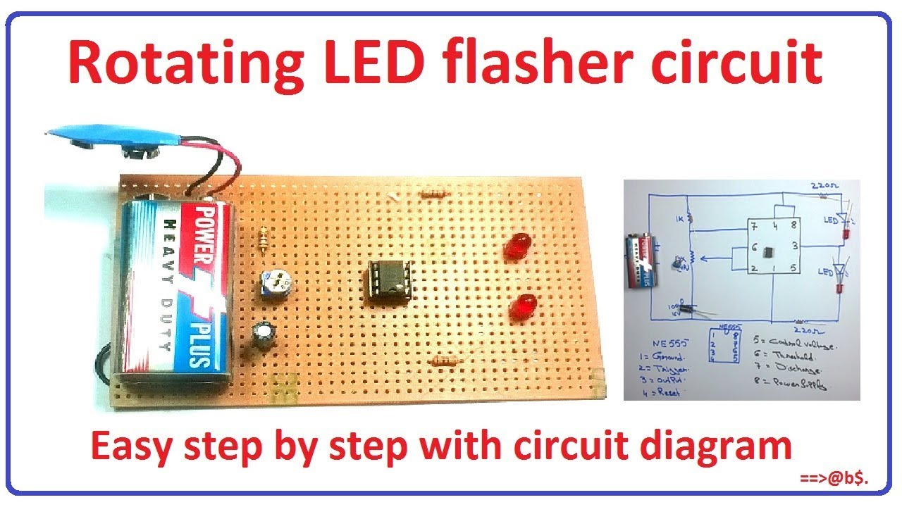 how to make simple rotating led flasher circuit step by step with circuit diagram [ 1280 x 720 Pixel ]