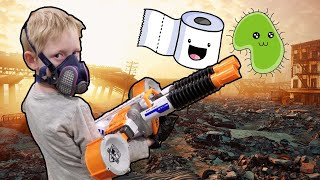 Zombie Virus NERF WAR!!! Social Distancing with Guns