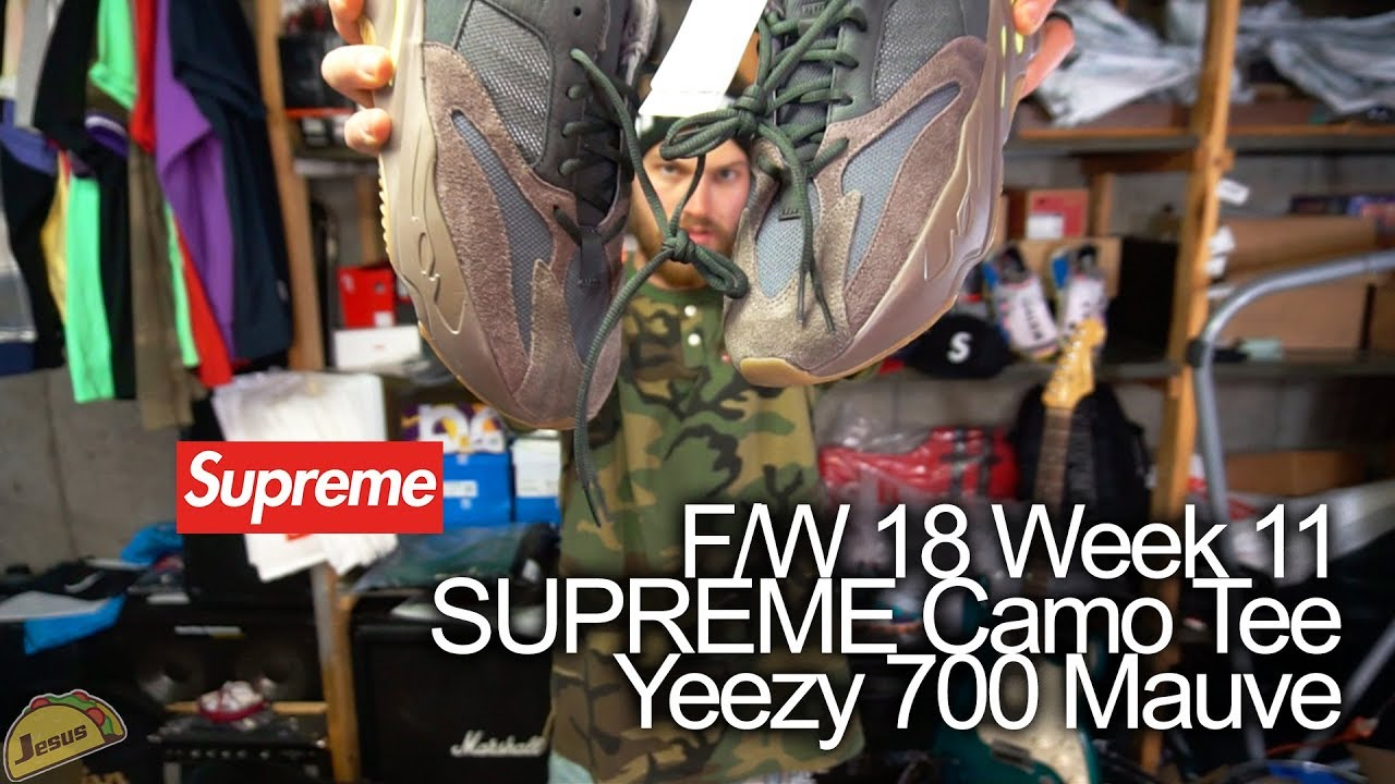 77b722726 Supreme F W 2018 week 11 - Pique S S Henley Camo button tee - Full Review +  Yeezy 700 Mauve