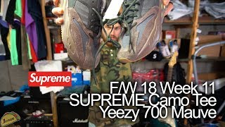 Supreme F/W 2018 week 11 - Pique S/S Henley Camo button tee - Full Review + Yeezy 700 Mauve