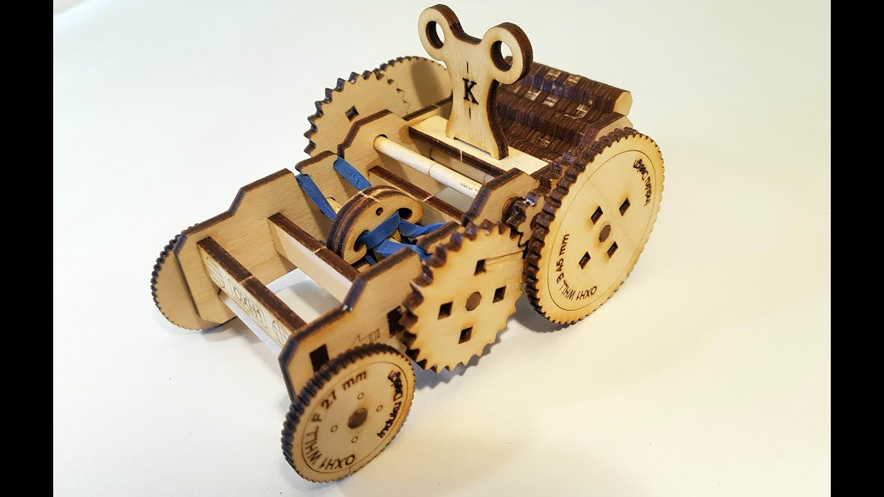 A Rubber Band Driven Wind Up Laser Cut Plywood Car Youtube