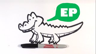 How to Draw a Cute Alligator - Easy Pictures to Draw