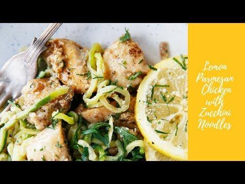 Lemon Parmesan Chicken with Zucchini Noodles