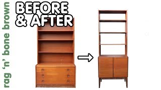 Mid Century Bookcase Cabinet - Extreme Makeover Before & After Part 2 of 2