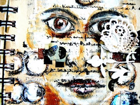 MIXED MEDIA  FACE with PRIMA oil pastels with  SCRAPS OF ELEGANCE