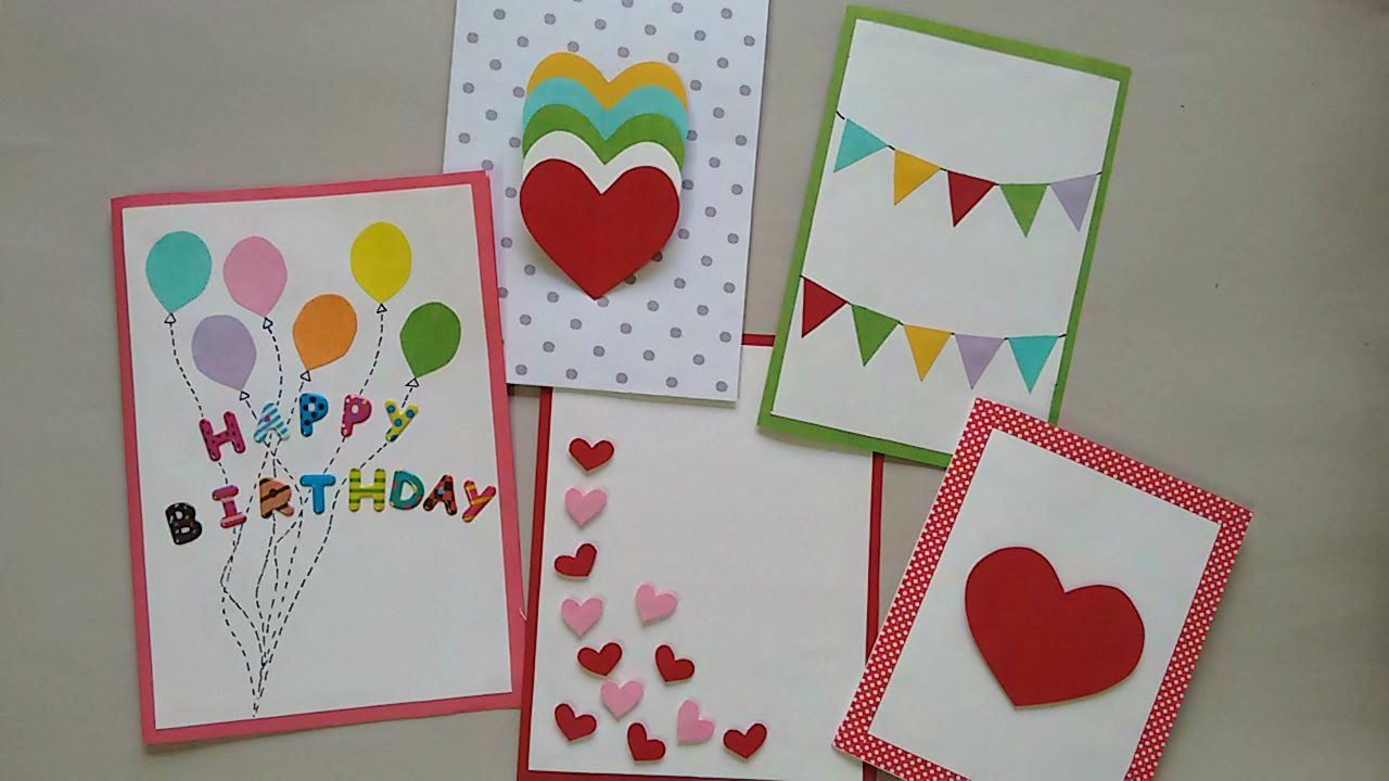 5 Cute Easy Greeting cards – Card Making Birthday Card Ideas