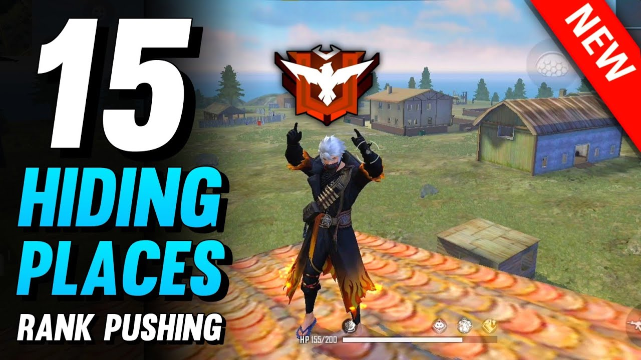 TOP 15 HIDING PLACES IN FREE FIRE | BEST HIDDEN PLACES FOR RANK PUSHING - BROKEN JOYSTICK