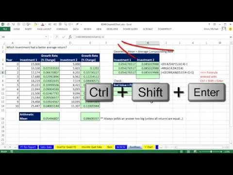 Basic Excel Business Analytics 22 Geometric Mean Average Compounding Rate GEOMEAN RRI Function