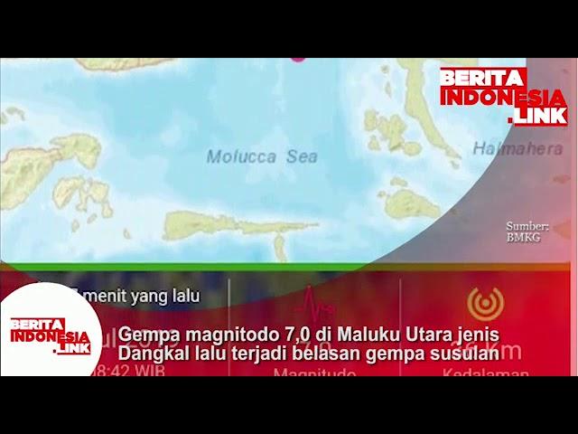 Gempa magnitudo 7,0 terjadi di Maluku Utara. Jenis gempa dangkal ini juga ada  belasan gempa susulan