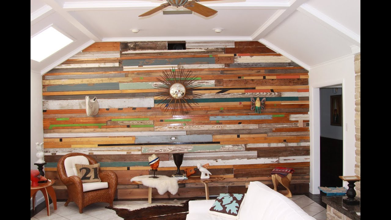 Wooden Wall Designs Amusing Reclaimed Wood Wall Design Ideas  Youtube