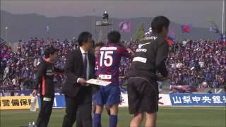 今季リーグ戦初出場の畑尾 大翔(甲府)が左サイドからのフリーキックに...