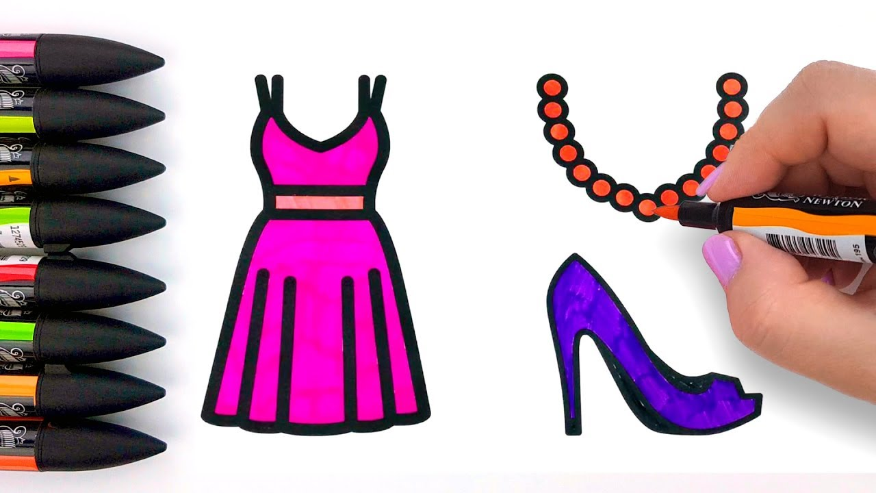 4e3a27e2050b Princess Accessories Coloring Pages for Kids - How to Draw Dress, Shoes,  Necklace