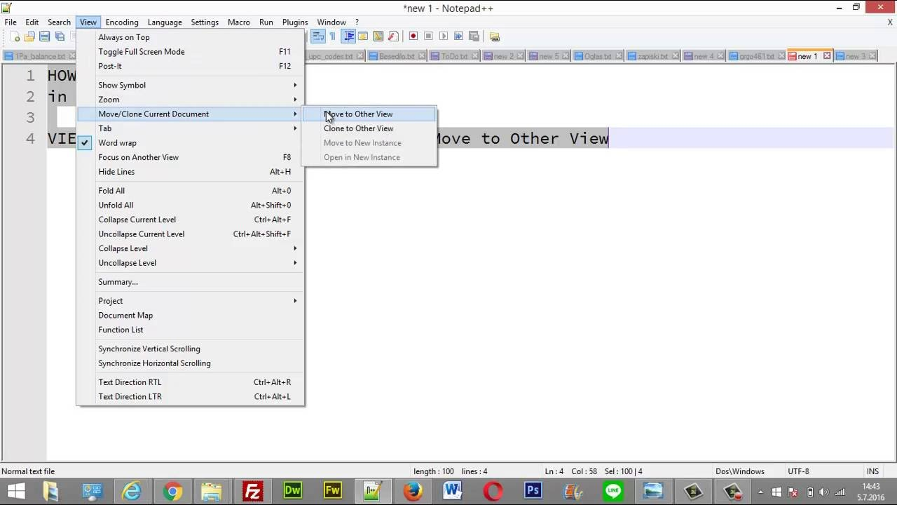 Tutorial How to split view another page document text in Notepad++