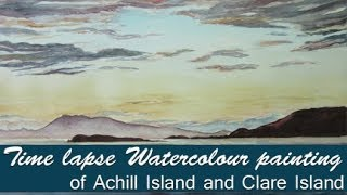 Watercolour painting of Achill Island and Clare Island sunset (Time lapse)