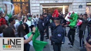 Les supporters algériens se réunissent sur les Champs Elysées / Paris - France 17 juin 2014