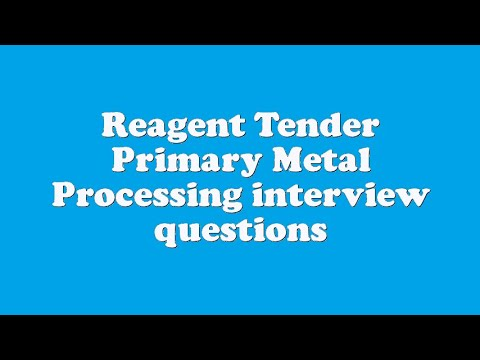 Reagent Tender Primary Metal Processing interview questions