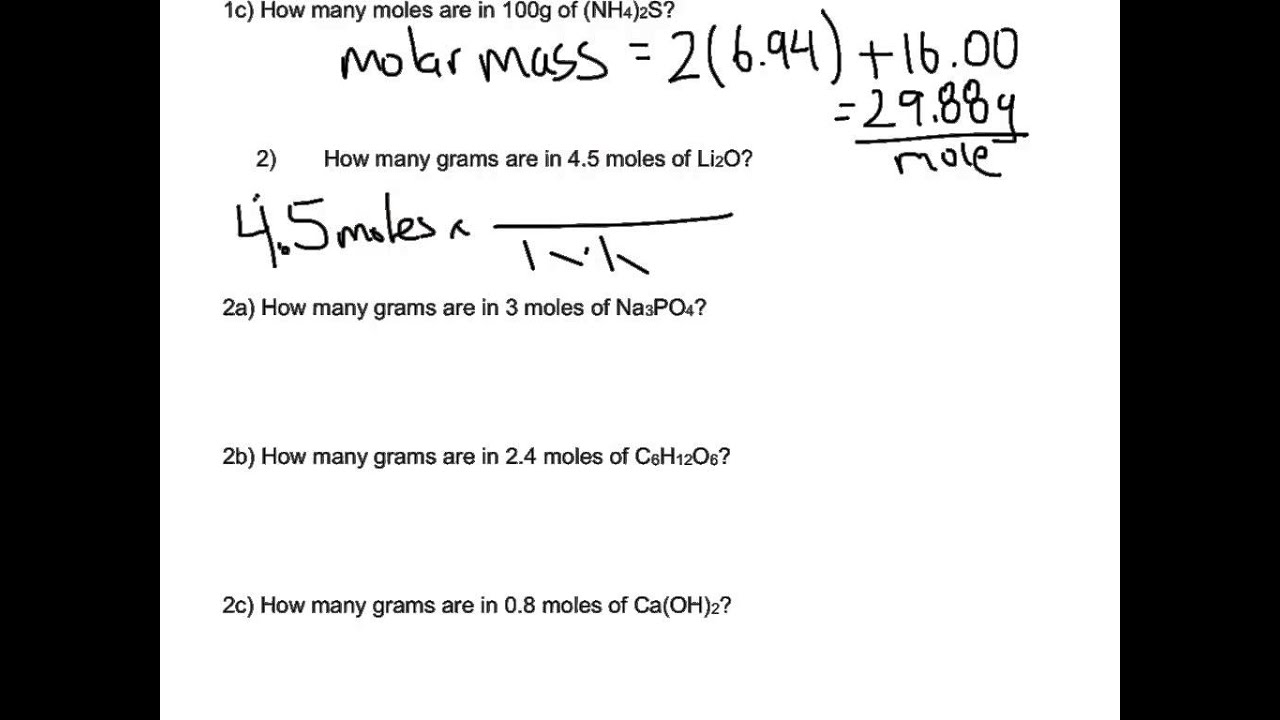 Worksheets Grams Moles Calculations Worksheet mole calculation worksheet part 2 youtube 2