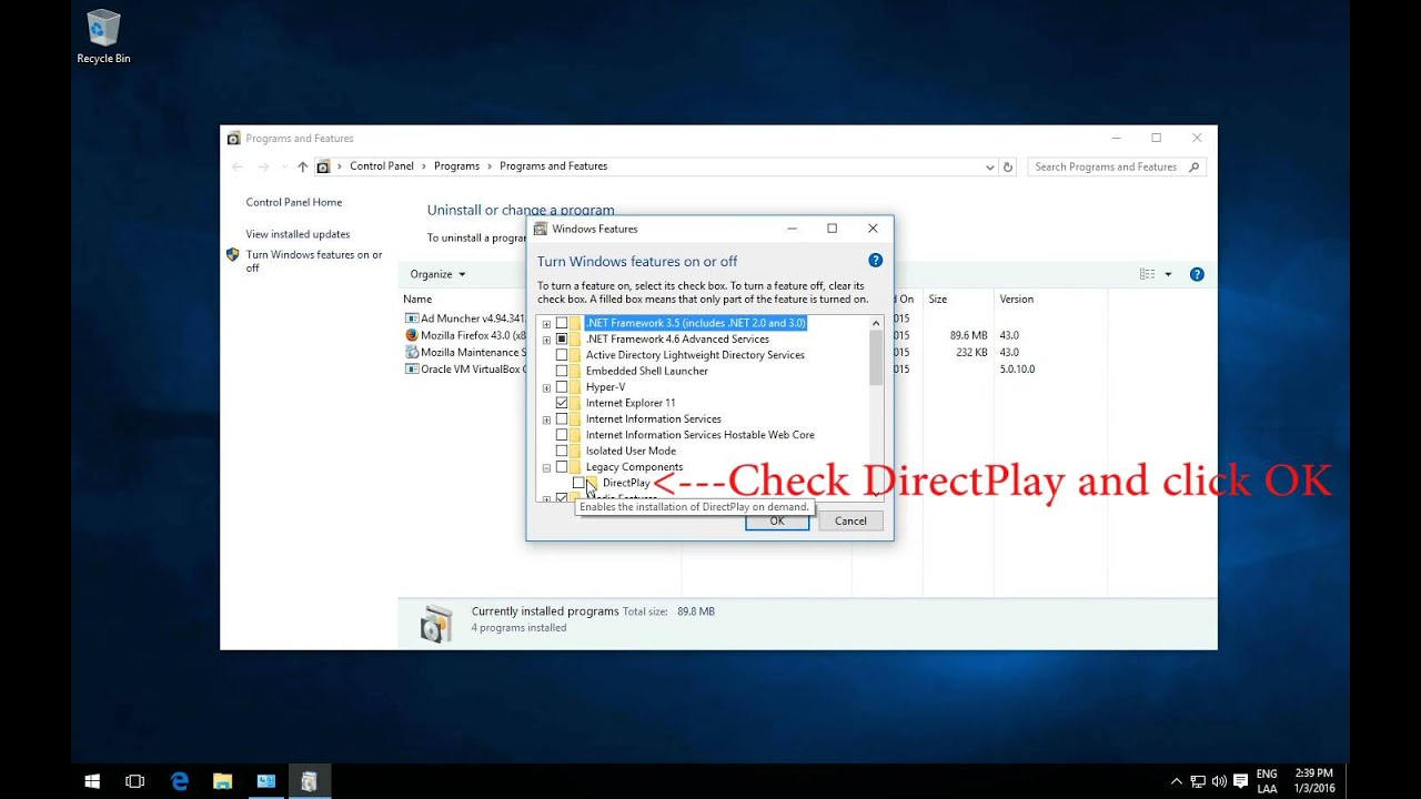 free download direct play for windows 10