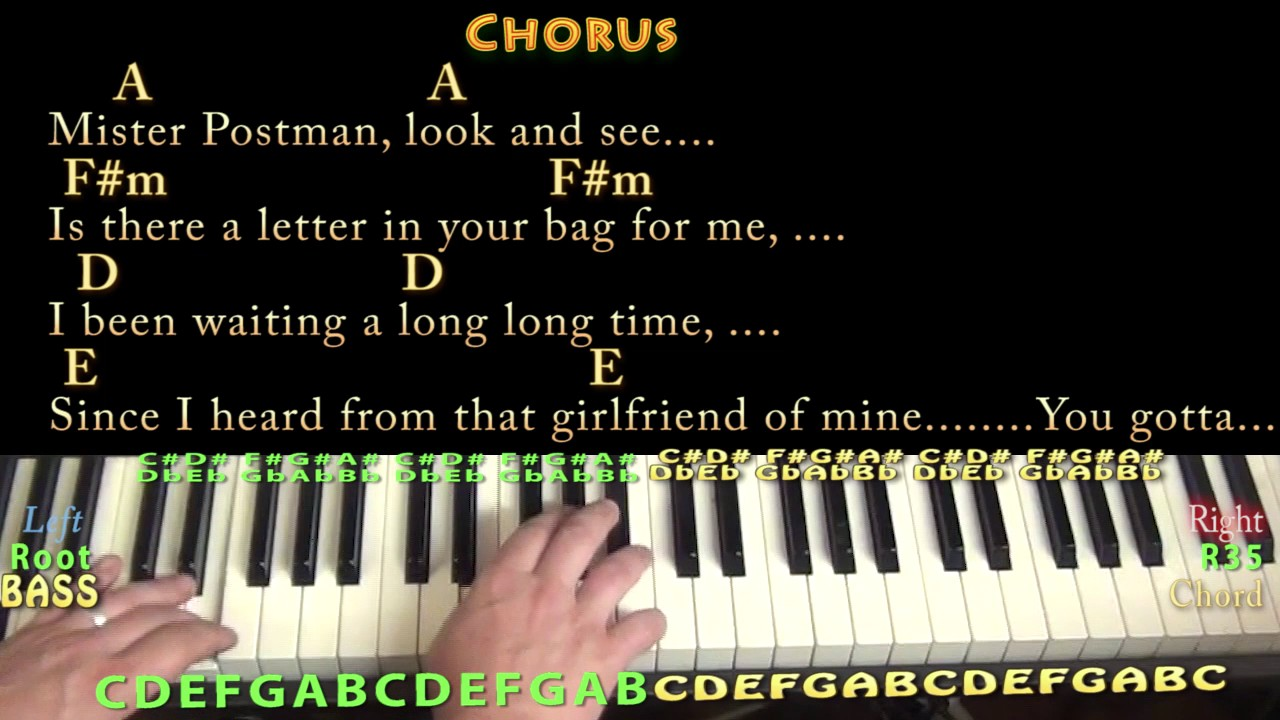 Please Mister Postman (Beatles) Piano Chord Chart in A with Chords ...