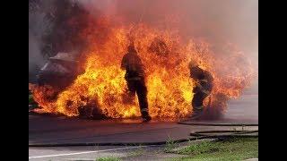 Firefighters blown up when RAV4 gas tank explodes @ 4:17!!!