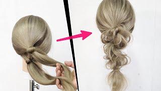 簡単!ピンなし!ゴムで結んでねじるだけ!かわいい編みおろしのヘアアレンジ!Hair Tutorials for Long Hair | Cute Long Hair