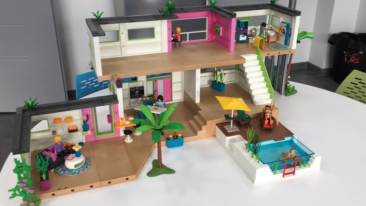 Le studio des invit s playmobil 5586 extension de la maison moderne youtube - Toute les maison playmobil ...