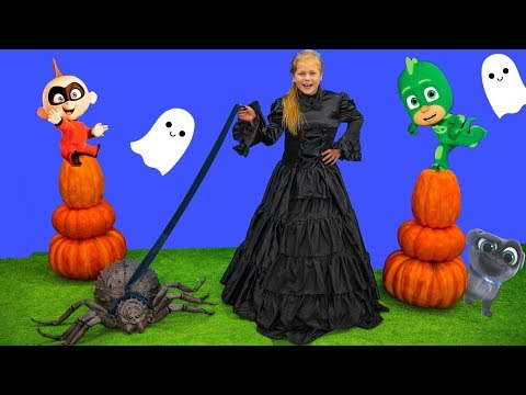 Assistant Spooky Pet Spider Hunt with Incredibles Baby Jack Jack and PJ Masks