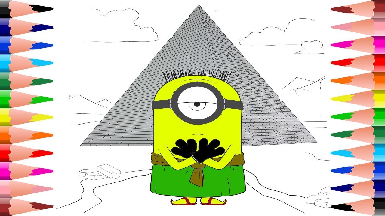 painting minions coloring pages for kids coloring pyramid with