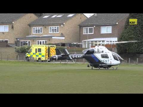 Air ambulance leaves scene of stabbing in Gravesend