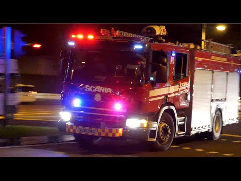 [Singapore] Nobody Gives Way! Fire Truck Can't Leave Station | SCDF Responding Siren & Horn