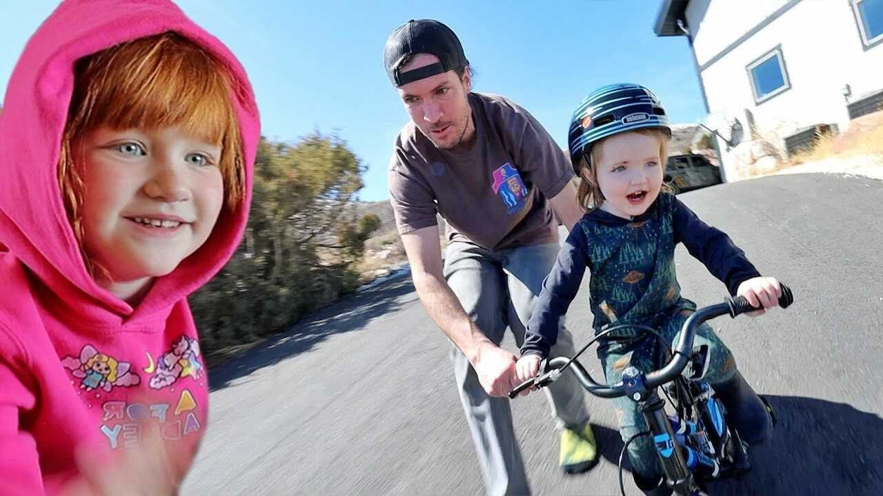 Niko Rides a BiG BiKE!!  Last Day of our Spring Break family vacation at the Bear Lake house!