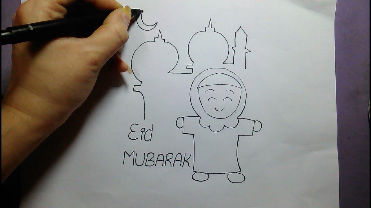 Eid Mubarak Eid Drawing For Kids Youtube