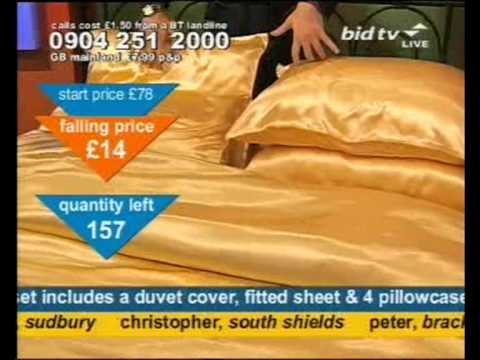 Andy Hodgson sells gold satin bedding on Bid TV