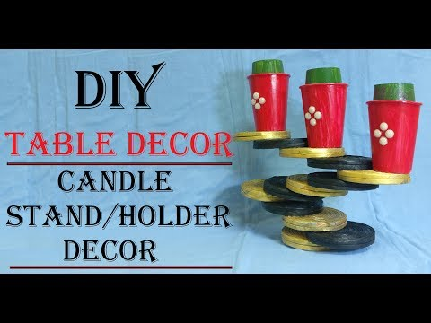 DIY   Table Decoration   Candle Stand/Holder Decoration   Newspaper Craft