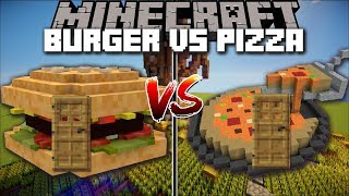 Minecraft BURGER HOUSE VS PIZZA HOUSE MOD / SPAWN HOUSES WITH FOOD AND SURVIVE IN THEM !! Minecraft